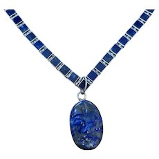 Natural Lapis Lazuli cameo sterling silver necklace