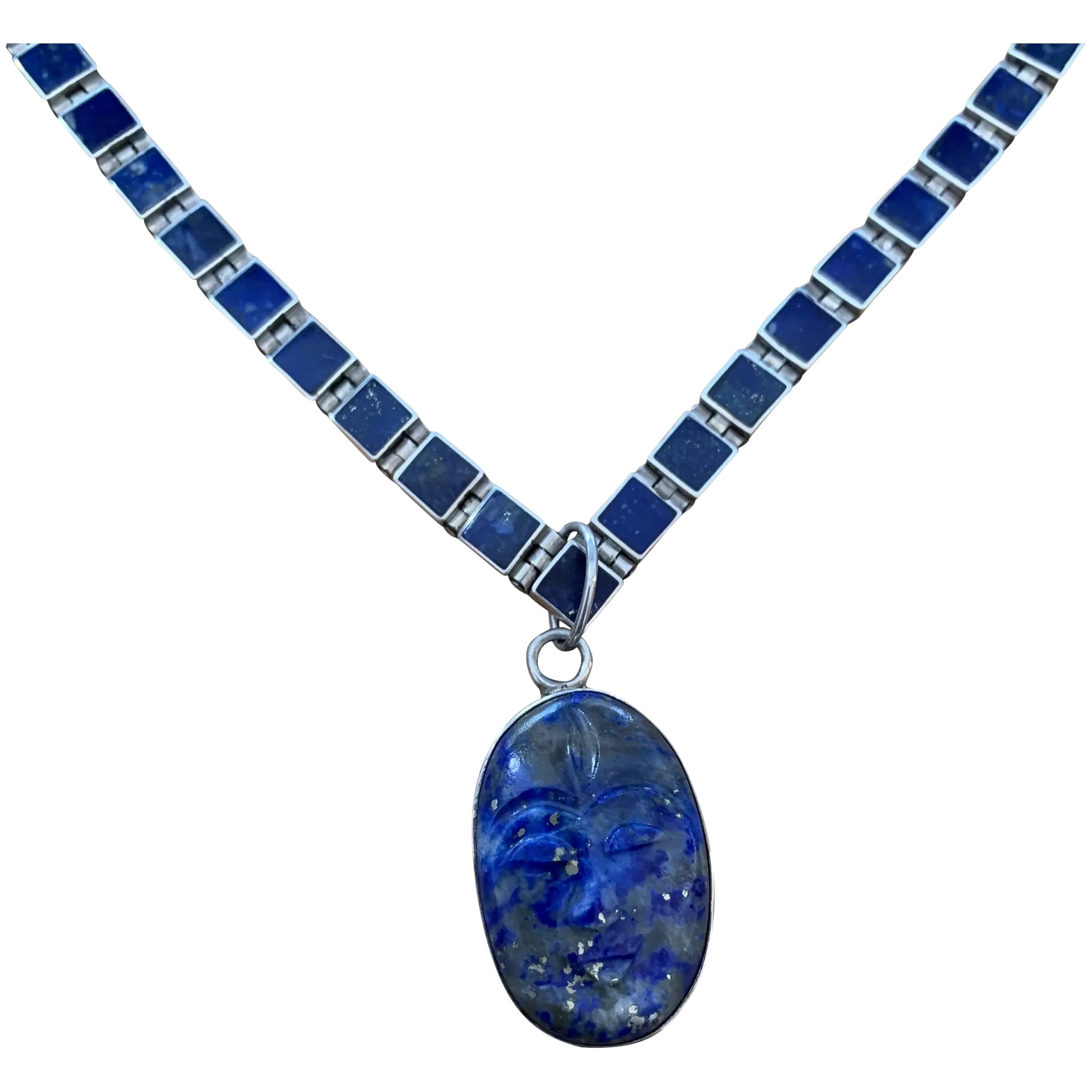 Sterling Silver Egyptian Carving Lapislazuli Necklace New!