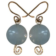 14K gold very large Natural Aquamarine earrings
