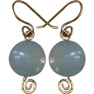 14K gold very large Natural Aquamarine earrings
