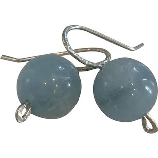 Large 12mm Natural Aquamarine sterling silver earrings