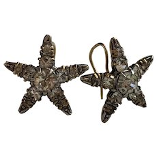 Victorian Stars Paste earrings 9CT gold