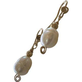 14 K gold, 14kGF cultured Pearl earrings