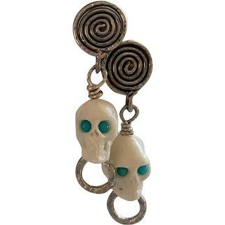 Sterling Silver, Bovine skulls, Persian Turquoise earrings