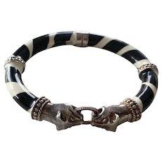 Sterling Silver Italian Wild Cat enamel bracelet