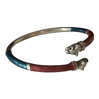 Sterling Silver Enamel Wild Cat bangle