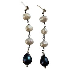 Sterling Silver Cultured White and Peacock Pearl earrings