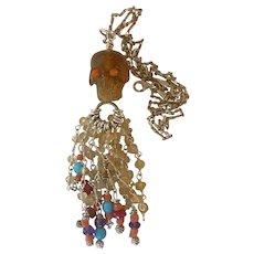 Natural Amber carved Skull Multi Gem Necklace