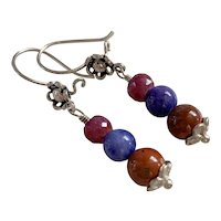Natural Ruby, Lapis Lazuli, Jasper Sterling Silver earrings