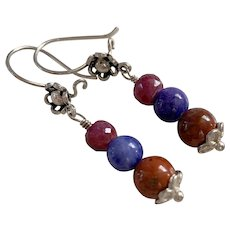 Natural Ruby, Lapis Lazuli, Jasper Sterling Silver earrings