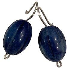 Large Rare Carved Lapis Lazuli earrings