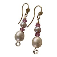 Natural Pink Sapphires, AAA natural blush Cultured Pearl earrings
