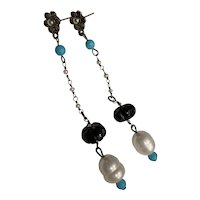 Persian Turquoise, Carved black Onyx, cultured pearls