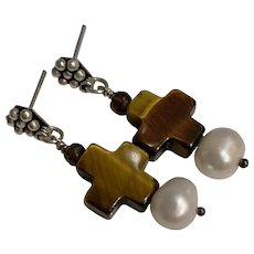Natural Tigers Eye, Topaz and cultured pearl earrings