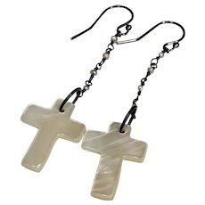Carved Mother of Pearl cross cultured pearl earrings