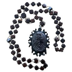 Vulcanite Mourning Cameo carved wooden bead Rosary necklace