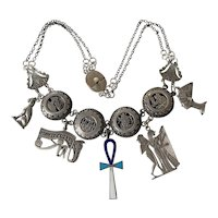 Sterling Silver Egyptian Revival Goddess necklace