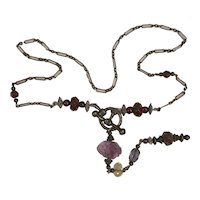 Sterling Silver Multi Natural Gem Toggle chain necklace