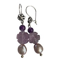 Natural Amethyst, Flourite and Cultured Pearl earrings
