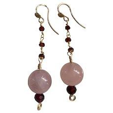 14K gold filled Natural Rose Quartz and Garnet earrings