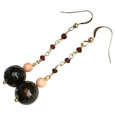 Natural Garnet, Coral, polished Agate earrings