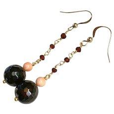 Natural Garnet, Coral, polished Agate earrings