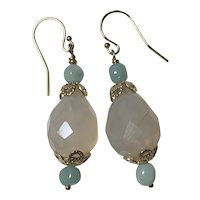 Natural hand carved Chalcedony and Blue Jade 14GF earrings