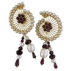 Garnet Cultured white Pearl Large drop earrings