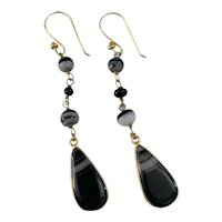 Banded Agate open back drop earrings