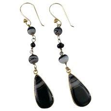 Banded Agate open back drop earrings