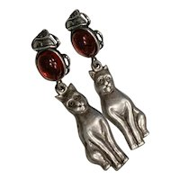 Egyptian Revival Scarab Garnet sterling Cat drops