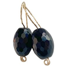 Large Natural Onyx 14K Gold filled earrings