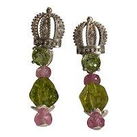 Sterling Natural Pink Sapphires, Peridot, Zircon earrings