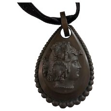 Victorian Mourning Vulcanite Teardrop Cameo