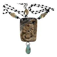 Peruvian Opal, Citrine, yellow Sapphire, Jasper Skull snake necklace