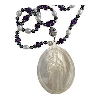 RARE St. Peter Cameo, Skull South Sea Cultured Pearl, Amethysts