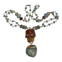 Natural Carved Amber Skull, Huge Aquamarine, Apatite necklace