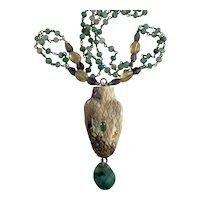 Snake Carved Antler/Natural Emerald necklace