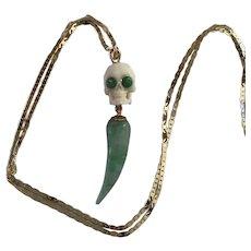Bovine skull, Natural Jade, Emerald 14K gold
