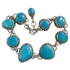Natural Sleeping Beauty Turquoise Sterling Silver link bracelet