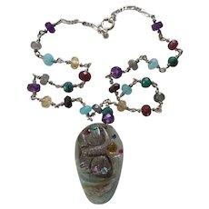 Multi-Gemstone Butterfly sterling silver necklace