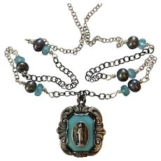 Sterling Mary Medal/Cultured Pearl/Apatite necklace