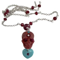 Natural Sponge Coral, Ruby, Sleeping beauty Turquoise skull
