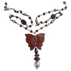 Natural Gemstone Butterfly, AAA cultured pearl, 14KGold and Sterling