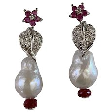 Natural Ruby Cultured Baroque Pearl Sterling