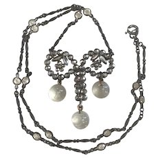 Victorian Cut Steel, Crystal, Glass Pools of Light necklace
