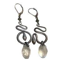 Egyptian Revival Snake Rock Crystal earrings