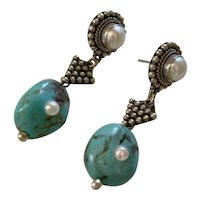 Cultured Pearl, double-sided Turquoise Sterling Earrings
