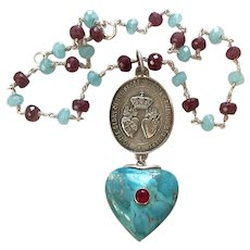 Very Large, Sterling, Sacred Heart, Turquoise, Ruby necklace