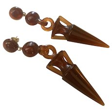Art Deco, long, Egyptian Revival, Amber Lucite Earrings